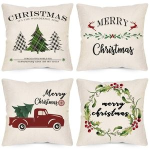 LAVEVE Christmas Pillow Covers 18x18 Inches